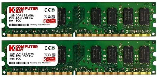 329 opinioni per Komputerbay 2GB 2X 1GB DDR2 533MHz PC2-4200 PC2-4300 DDR2 533 240 pin DIMM