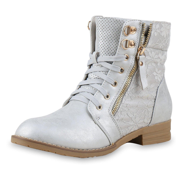 Matyfashion Stylische Damen Schnür Stiefeletten/Boots in Lederoptik mit Spitze BF 15 (41, Khaki)