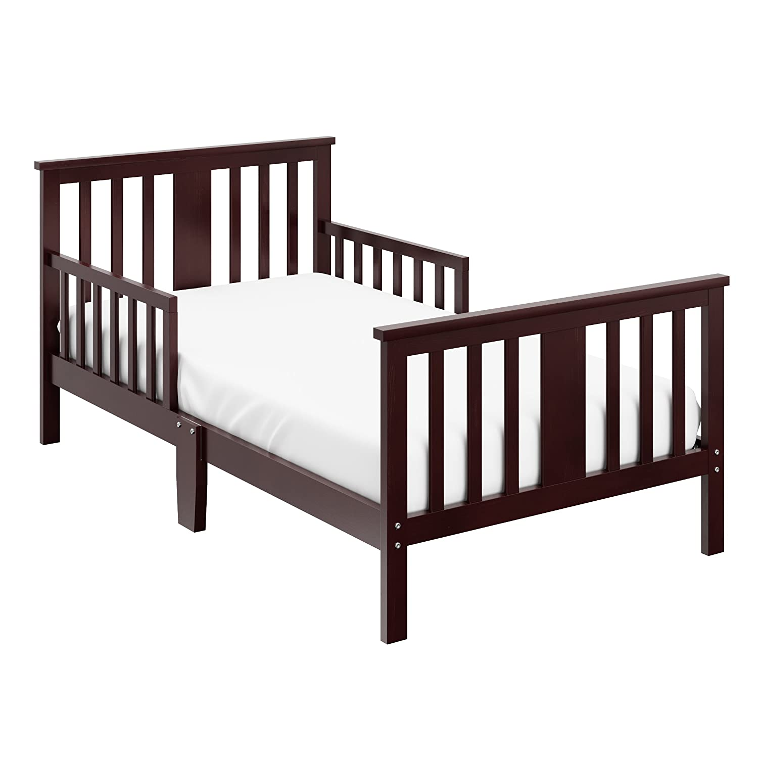 Storkcraft Mission Ridge Toddler Bed Espresso Fits Standard-Size Toddler Mattress, Guardrails on Both Sides for Protection, Meets or Exceeds all Federal Safety Standards, Pine & Composite Construction 05250-109