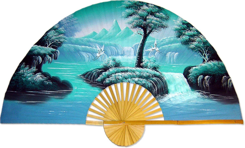 "Medium 40"" Folding Wall Fan - Aqua Fantasy - Original Hand-Painted"