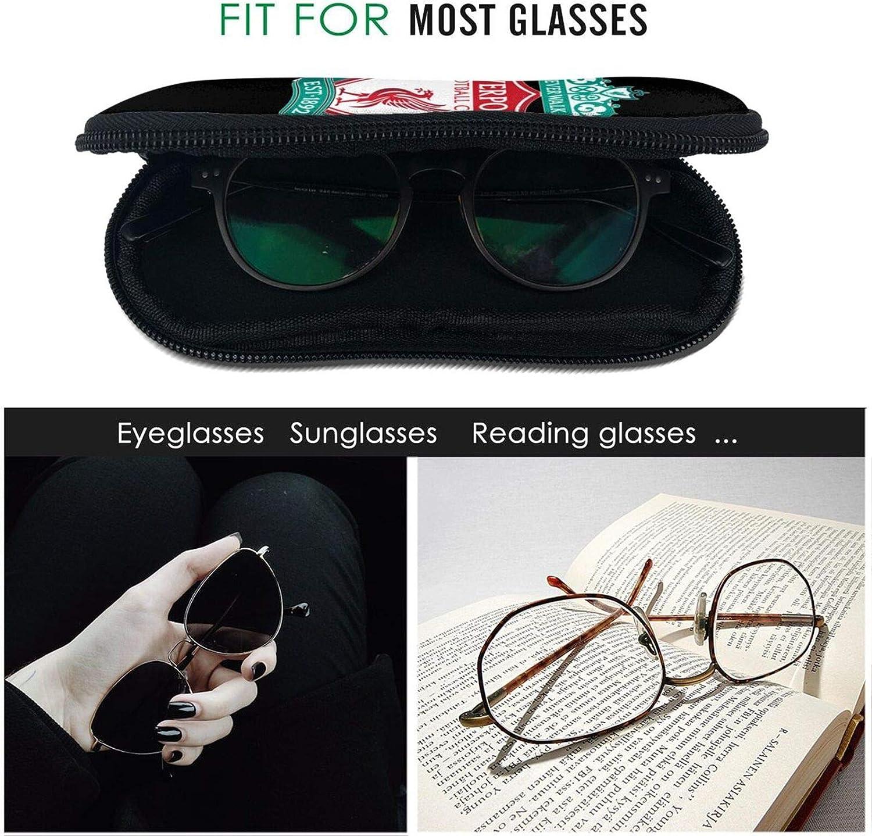 Glasses Cases L-iver-po-ol-Portable Glasses Case Sunglasses Soft Bag Zipper With Hook For School Office Fitness Travel