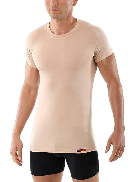 ALBERT KREUZ Camiseta Interior particularmente Ligera para Hombre, Invisible de Color Carne/Piel,