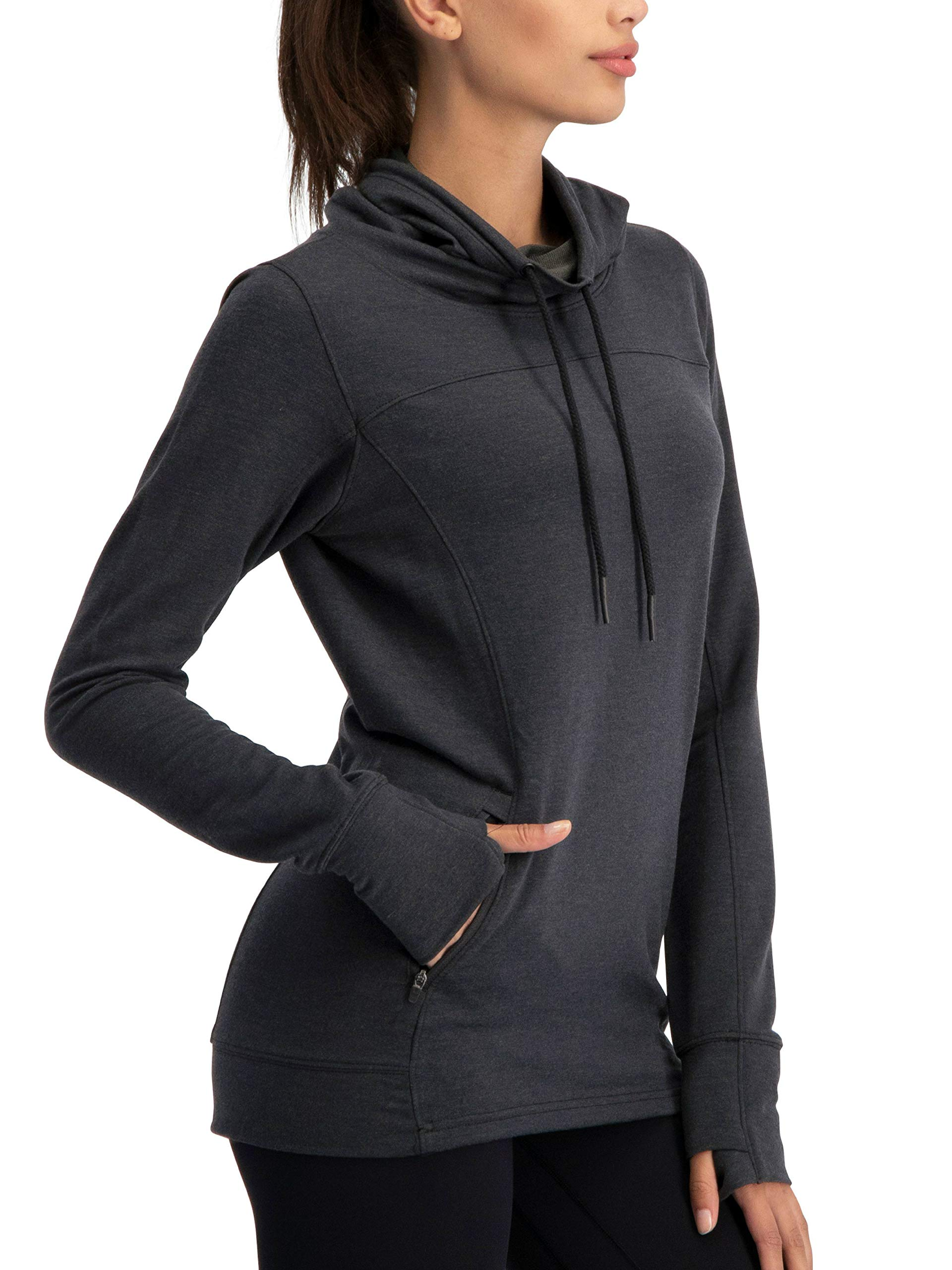 Three Sixty Six Dry Fit Pullover Sweatshirt for Women - Fleece Cowl Neck Sweater Jacket - Zip Pockets and Thumbholes by Three Sixty Six
