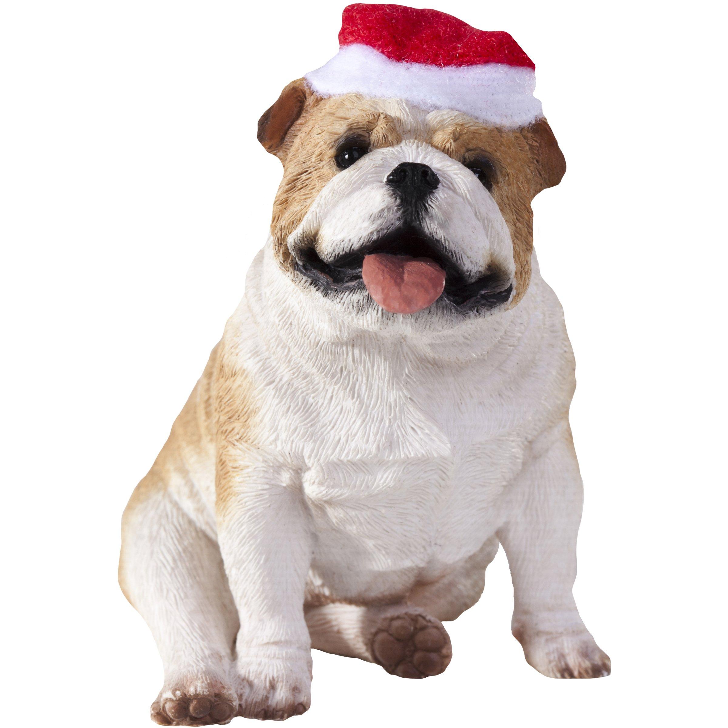 Sandicast Fawn Bulldog with Santa Hat Christmas Ornament