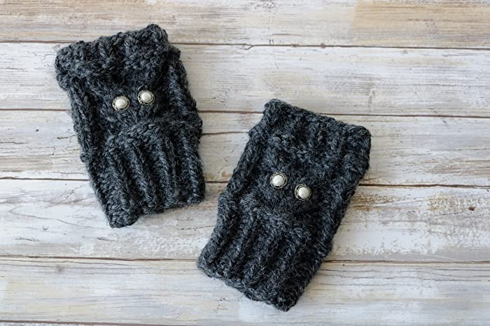 Amazon.com: Chunky Cable Knit Owl Fingerless Gloves, Wrist Warmers ...