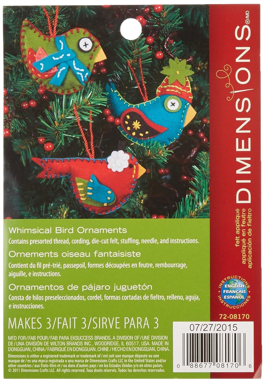 Dimensions Needlecrafts Felt Applique, Whimsical Birds Ornaments - Set of 3 DiMarzio 72-08170