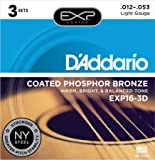 D'Addario EXP16-3D 3-Pack of Light Coated Phosphor Bronze, 12-53 Gauge Guitar Strings