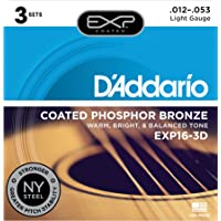 D'Addario EXP16-3D 3-Pack of Light Coated Phosphor Bronze, 12-53 Gauge Guitar Strings