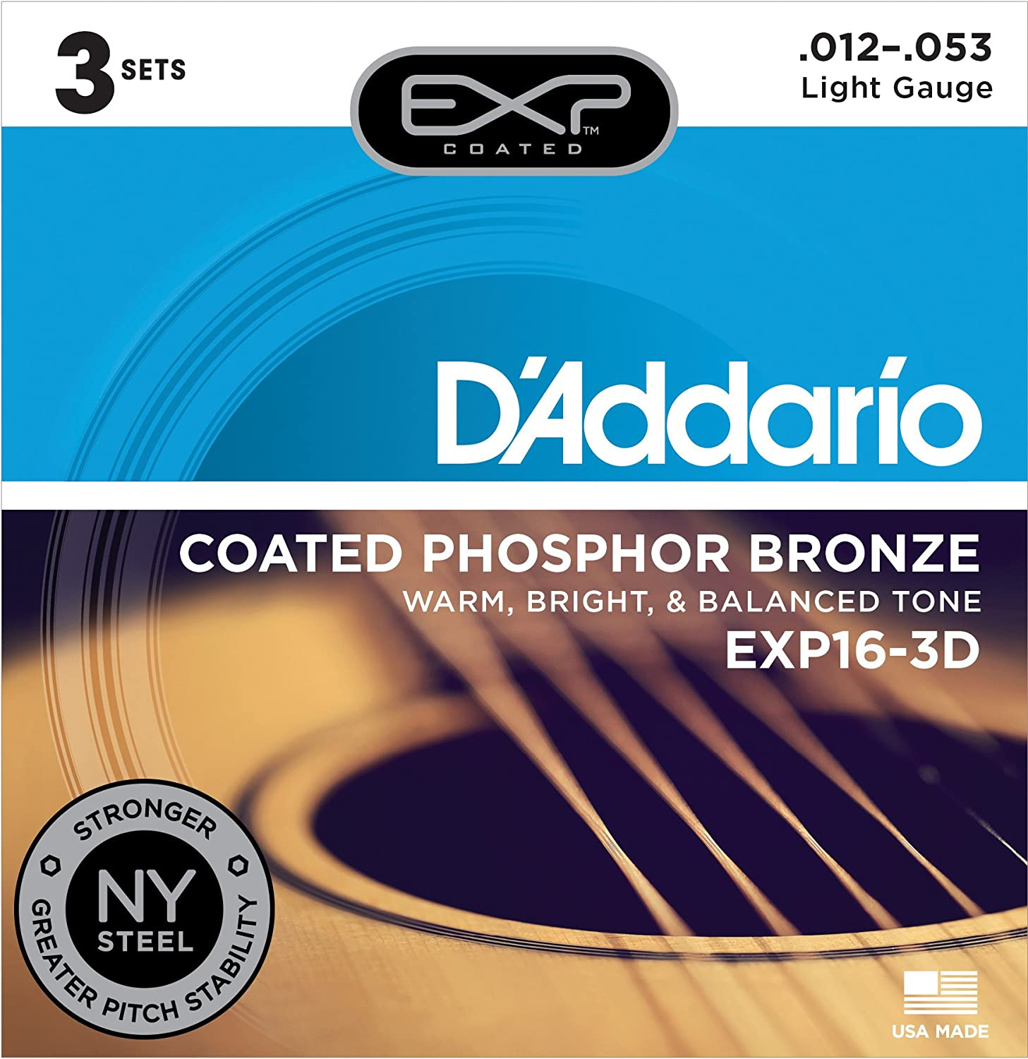 D'Addario EXP16-3D 3-Pack of Light Coated Phosphor Bronze, 12-53 Gauge Guitar Strings D' Addario &Co. Inc