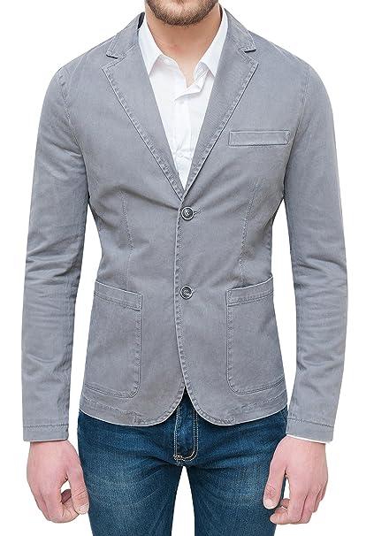 AK collezioni Giacca Blazer Uomo Grigio Chiaro Casual Elegante Slim Fit  Aderente in Cotone  Amazon.it  Abbigliamento cecf63c2821