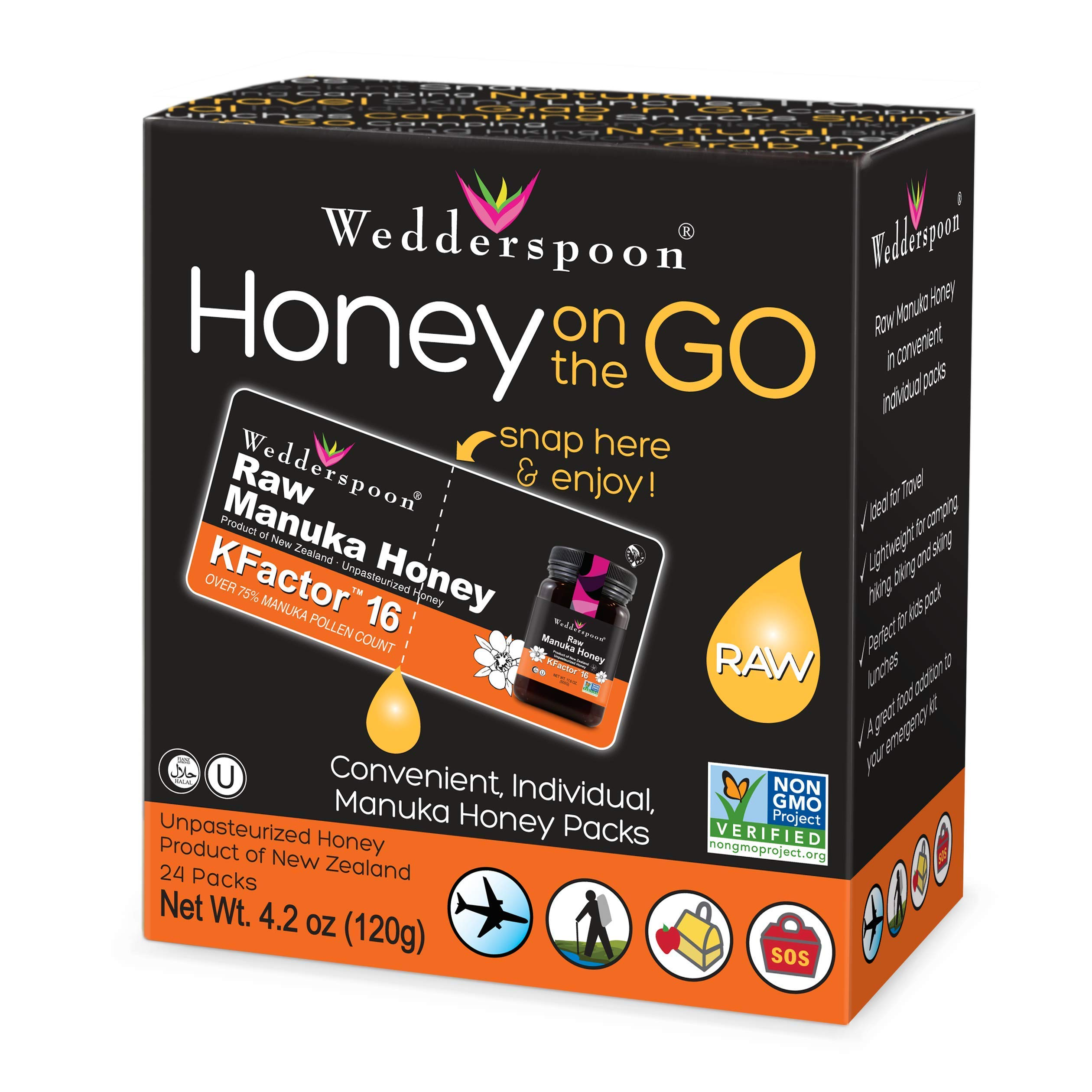 Wedderspoon 100% Raw Manuka Honey KFactor, 24 Count