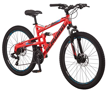 Schwinn Protocol 1.0 Dual-Suspension Mountain Bike with Aluminum Frame, 26-Inch Wheels, Red/Blue best downhill bikes