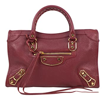 5bc2fab4fd Image Unavailable. Image not available for. Color: Balenciaga Red Leather Metallic  Edge City Small ...