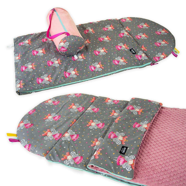 MINKY // 75x120 cm Babyboom Schlafsack f/ür Kinder auf Reisen// 100/% Baumwolle Kissen inkl Krippe Bl/ümchen - rosa Kindergarten Tasche//handmade in EU Zuhause