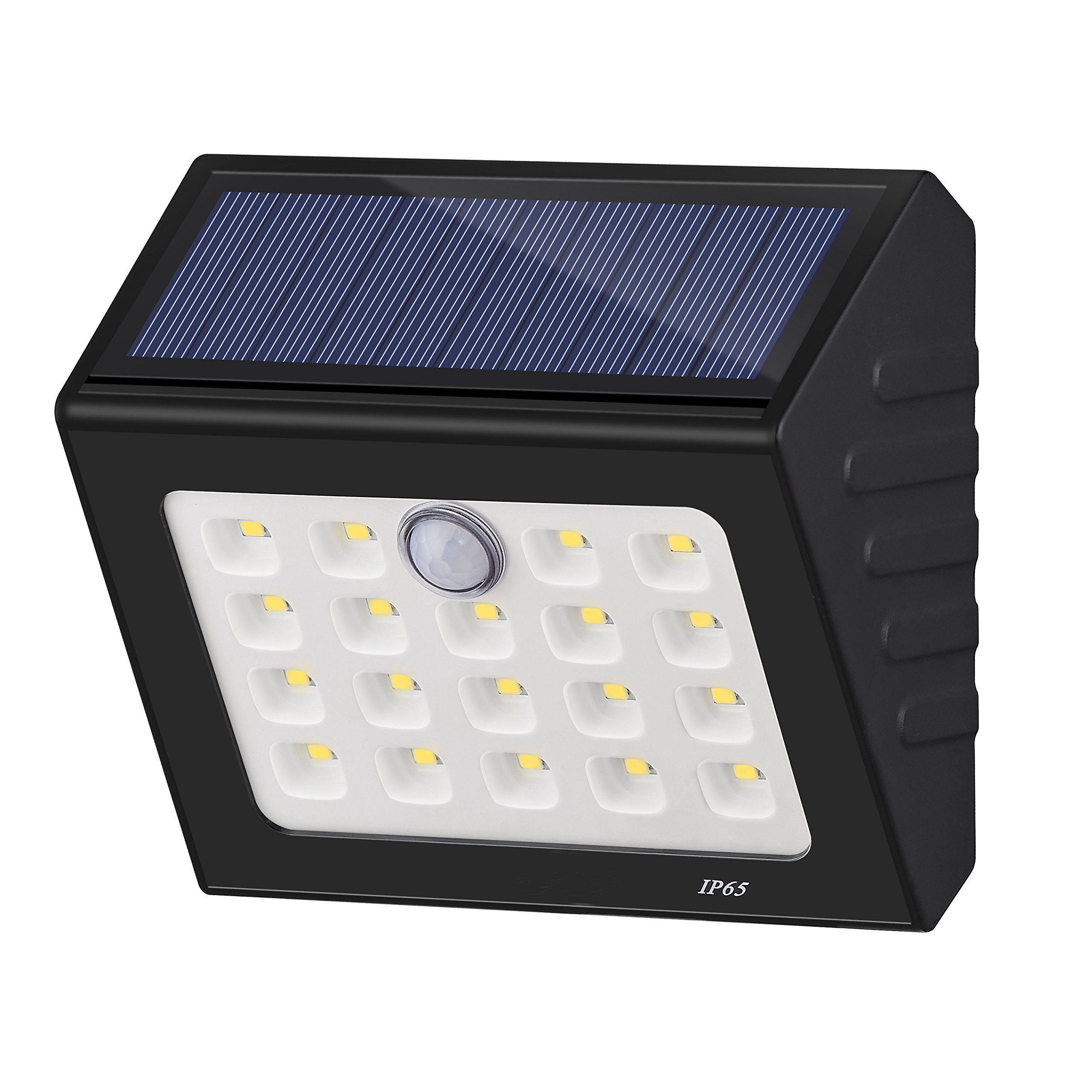 Solar Motion Sensor Light , 19 LED Wall Light Solar Powered Garden Light, Waterproof Wireless Security Lights for Step,Fence,Gate,Yard or Driverway (ON/OFF Mode) (Black)