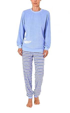 37042ccc84 Normann Copenhagen Damen Frottee Pyjama lang mit Bündchen und tollen  Feder-Motiv - 271 201 93 138: Amazon.de: Bekleidung