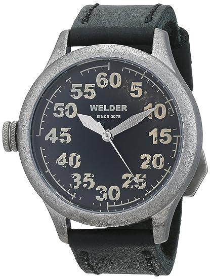 Welder K20-504 - Reloj para hombres, correa de cuero color negro: Amazon.es: Relojes