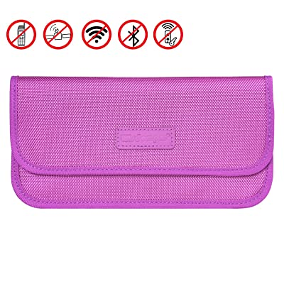 Faraday Bag, Wisdompro RFID Signal Blocking Bag Shielding Pouch Wallet Case for Cell Phone Privacy Protection and Car Key FOB (Purple)