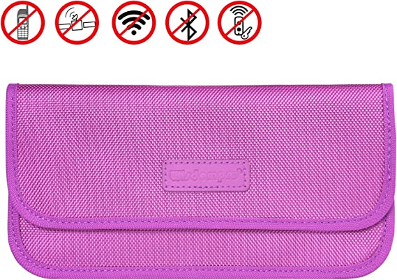 Faraday Bag RFID Signal Blocking Shield Pouch Wallet Case for Cell Phone Purple