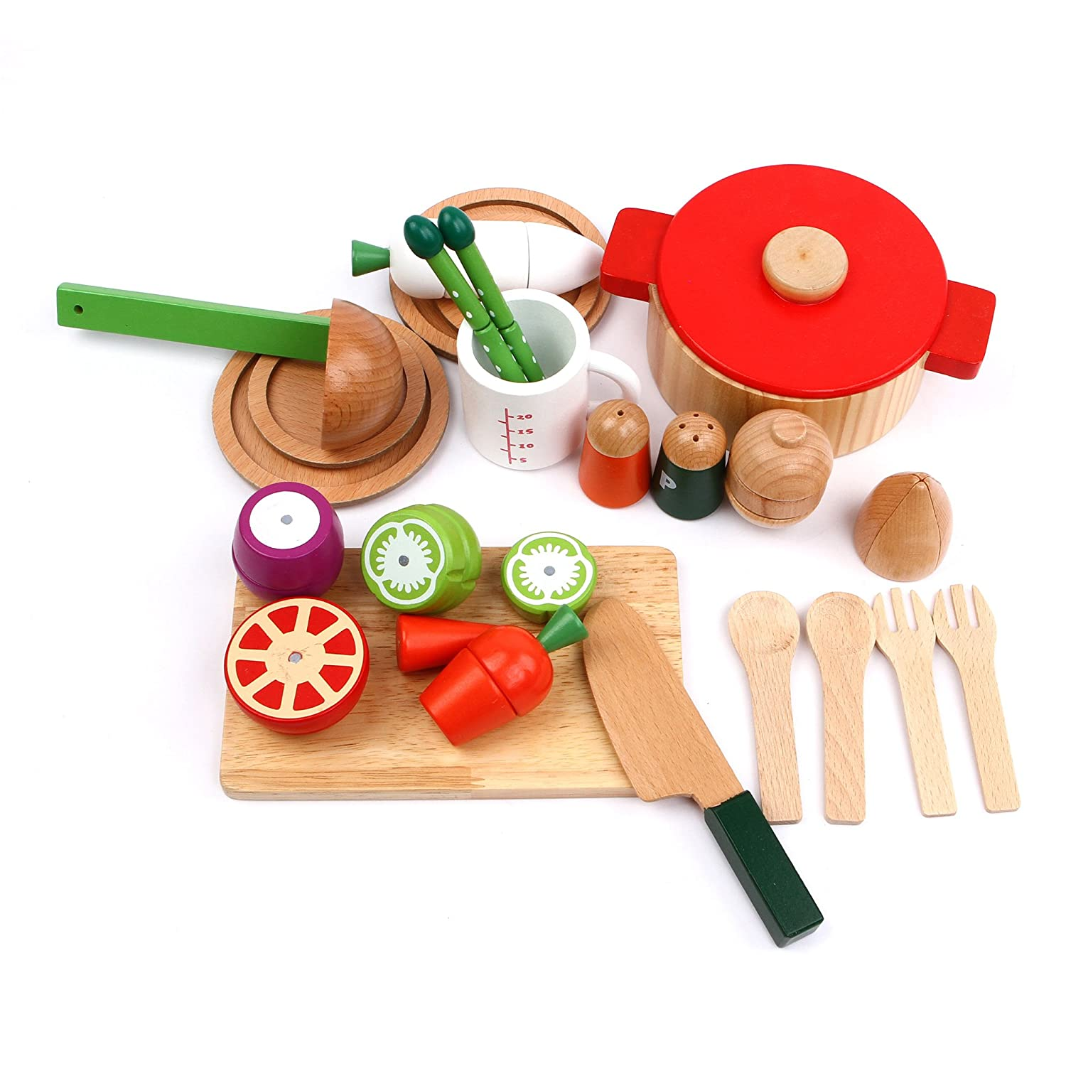 Cutting & Cooking Set with With Assorted Foods & Veggies Wooden