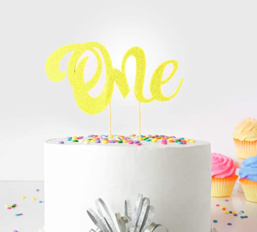 Decoración para tarta de primer cumpleaños Small (Yellow) - One - With Double Sided Glitter Stock