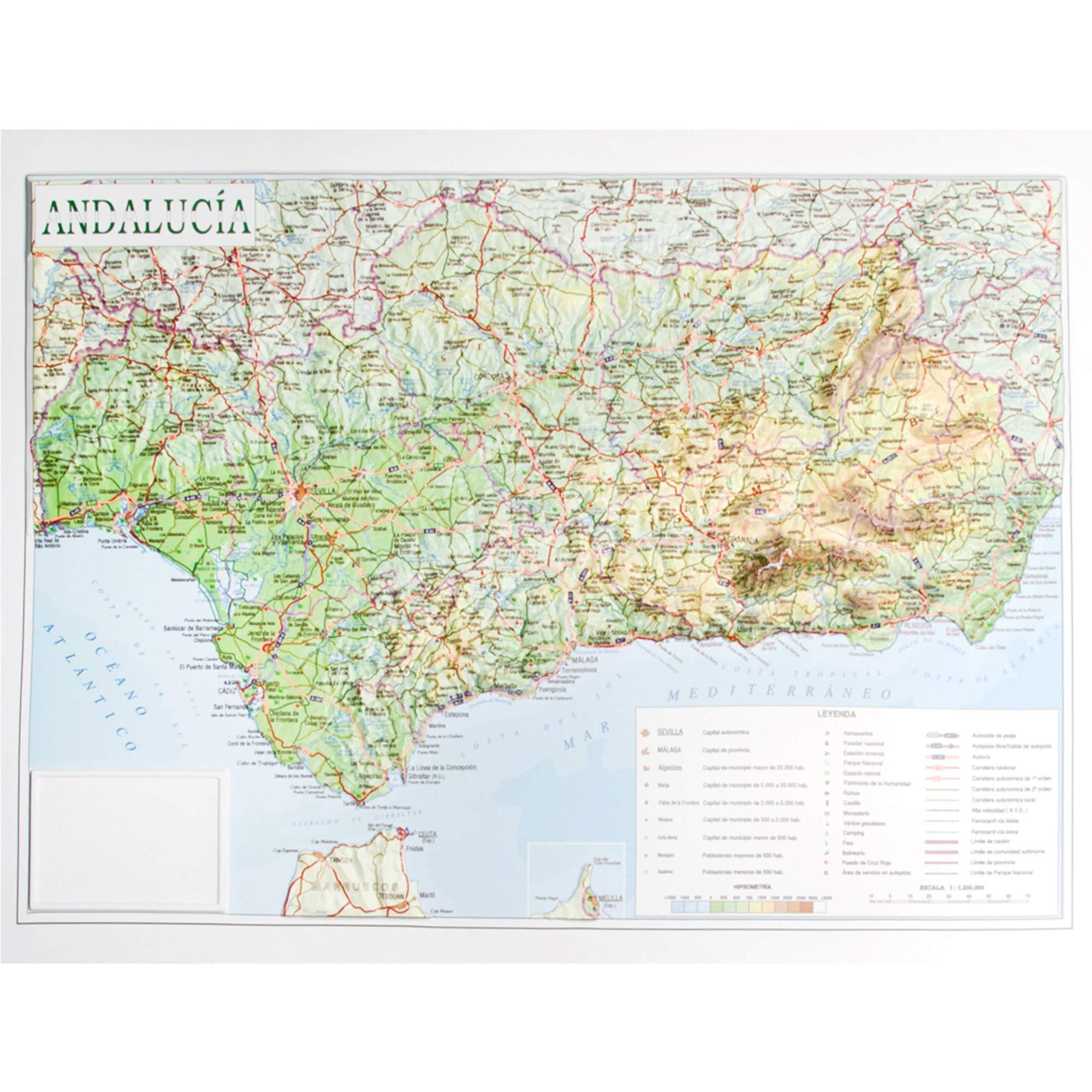 Mapa en relieve de Andalucía: Escala 1:1.200.000: Amazon.es ...