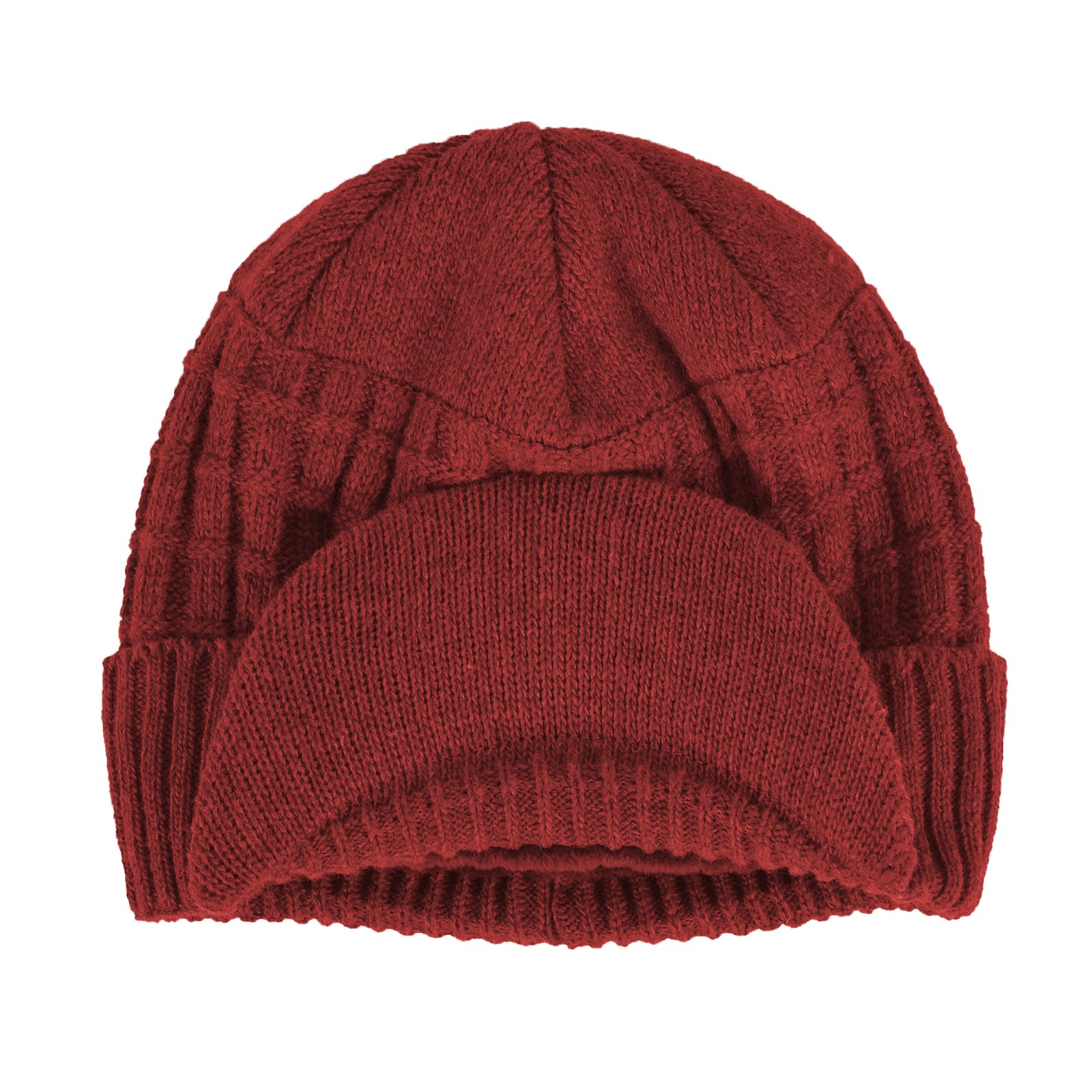 Janey/&Rubbins Sports Winter Outdoor Knit Visor Hat Billed Beanie with Brim Warm Fleece Lined for Men and Women