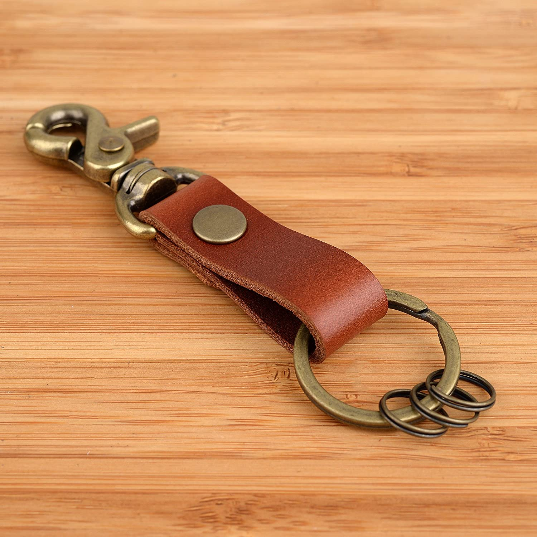 Men/'S Faux Leather Strap Keyring Keychain Key Chain Ring Keyfob Clip Holder  OQF