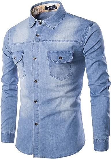 LEOCLOTHO Camisa Vaquera para Hombre Manga Larga Casual Cómodo Blusa de Mezclilla: Amazon.es: Ropa y accesorios