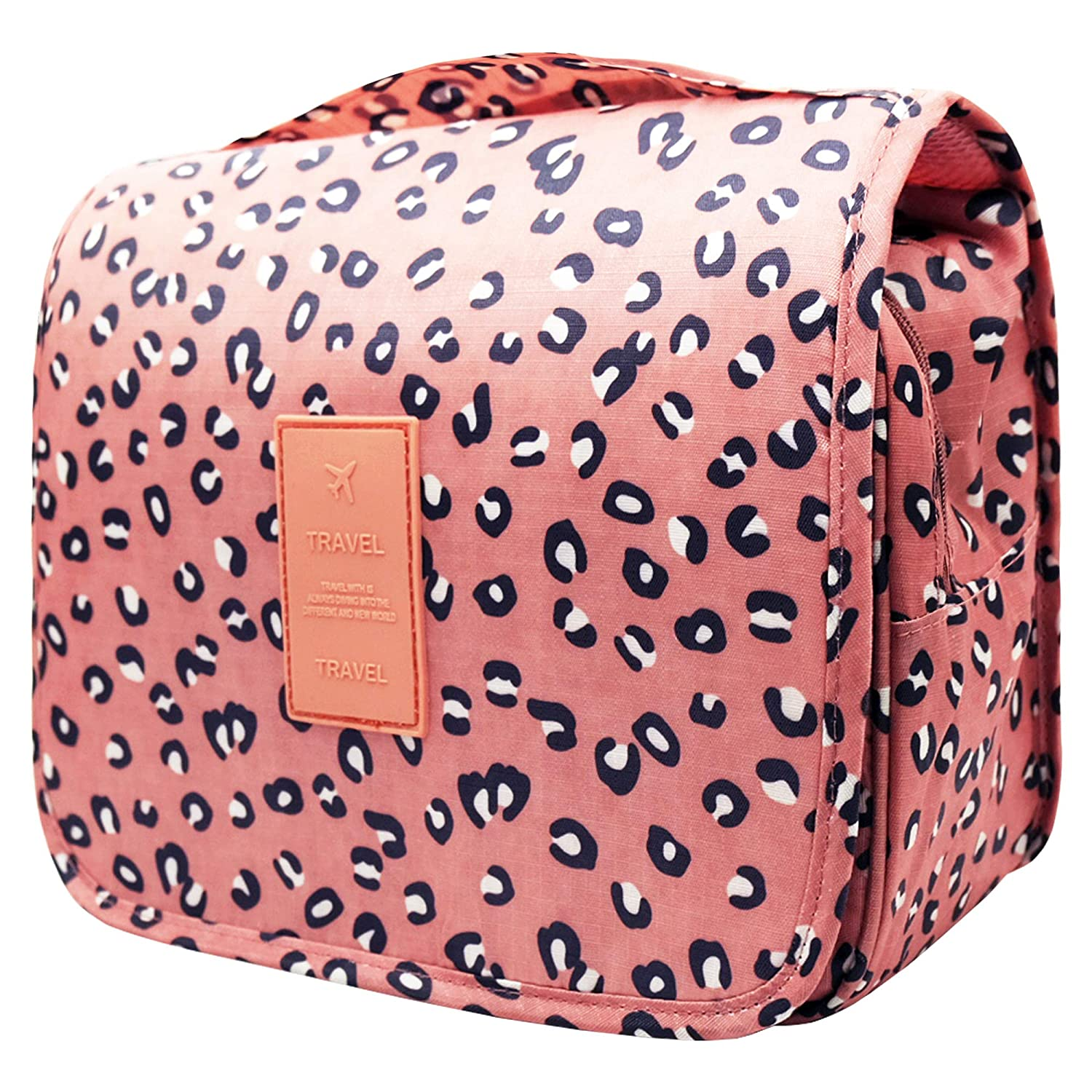 Lady Hanging Toiletry Bag -Cosmetic Makeup Organizer for Women with Sturdy Hook-Pink Flower