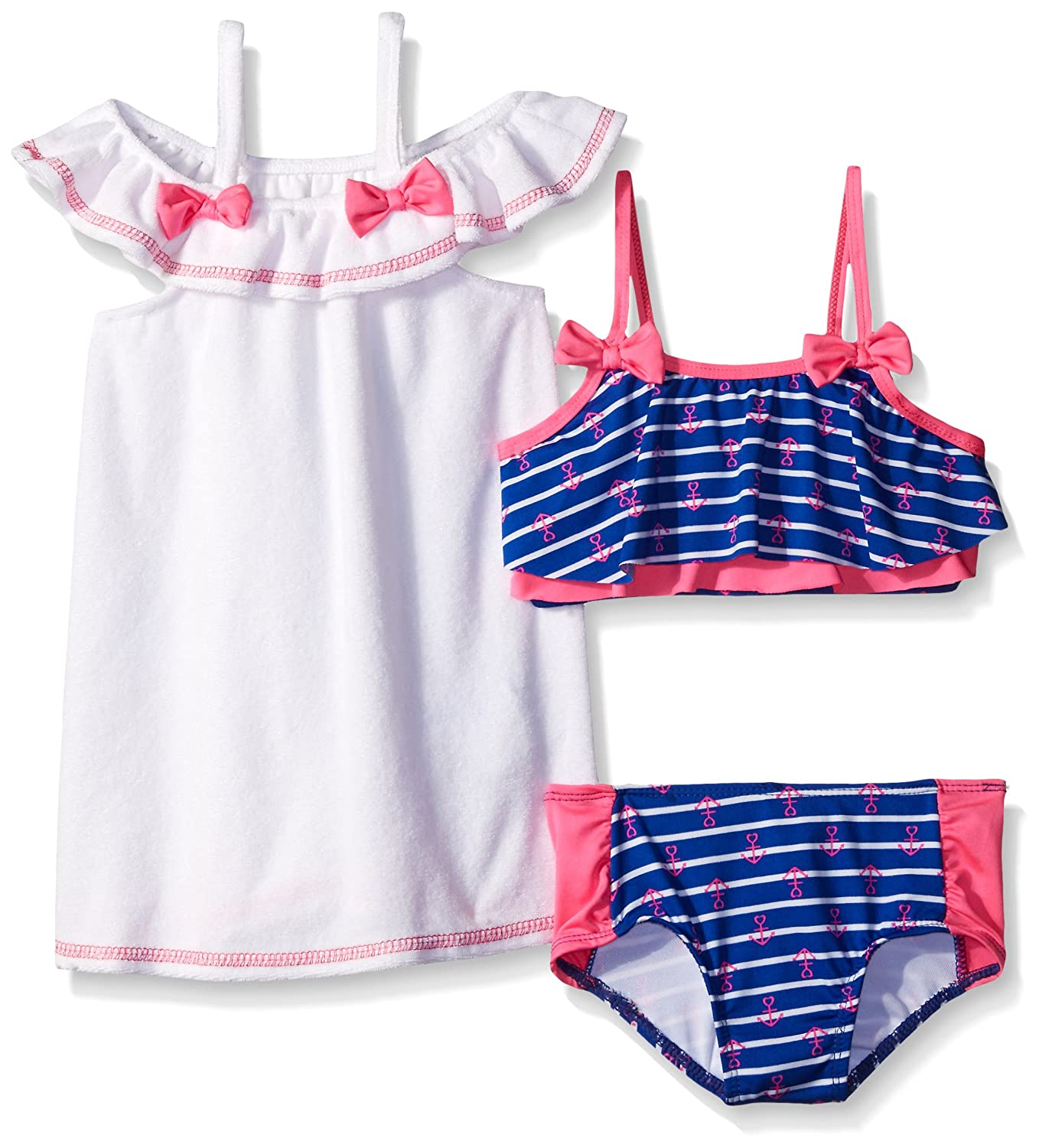 Baby Buns Girls' Sail Away Terry Cover-up Swimwear Set Multi 6 W43773