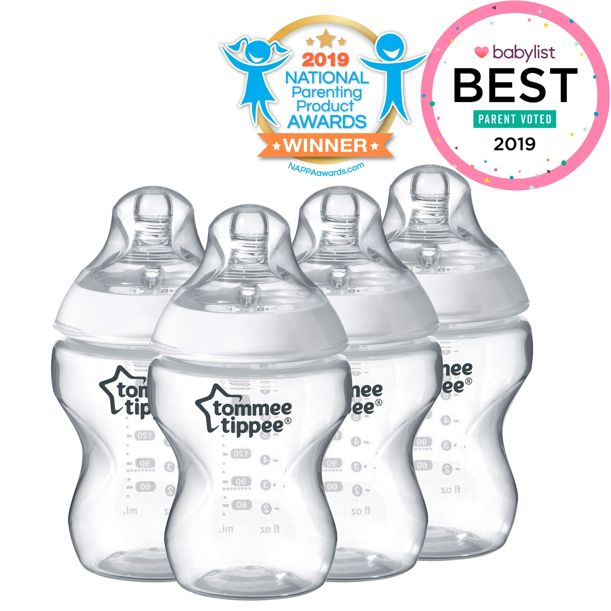 Tommee Tippee Closer to Nature Baby Bottle, Anti-Colic, Breast-like Nipple, BPA-Free - Slow Flow, 9 Ounce (4 Count) by Tommee Tippee