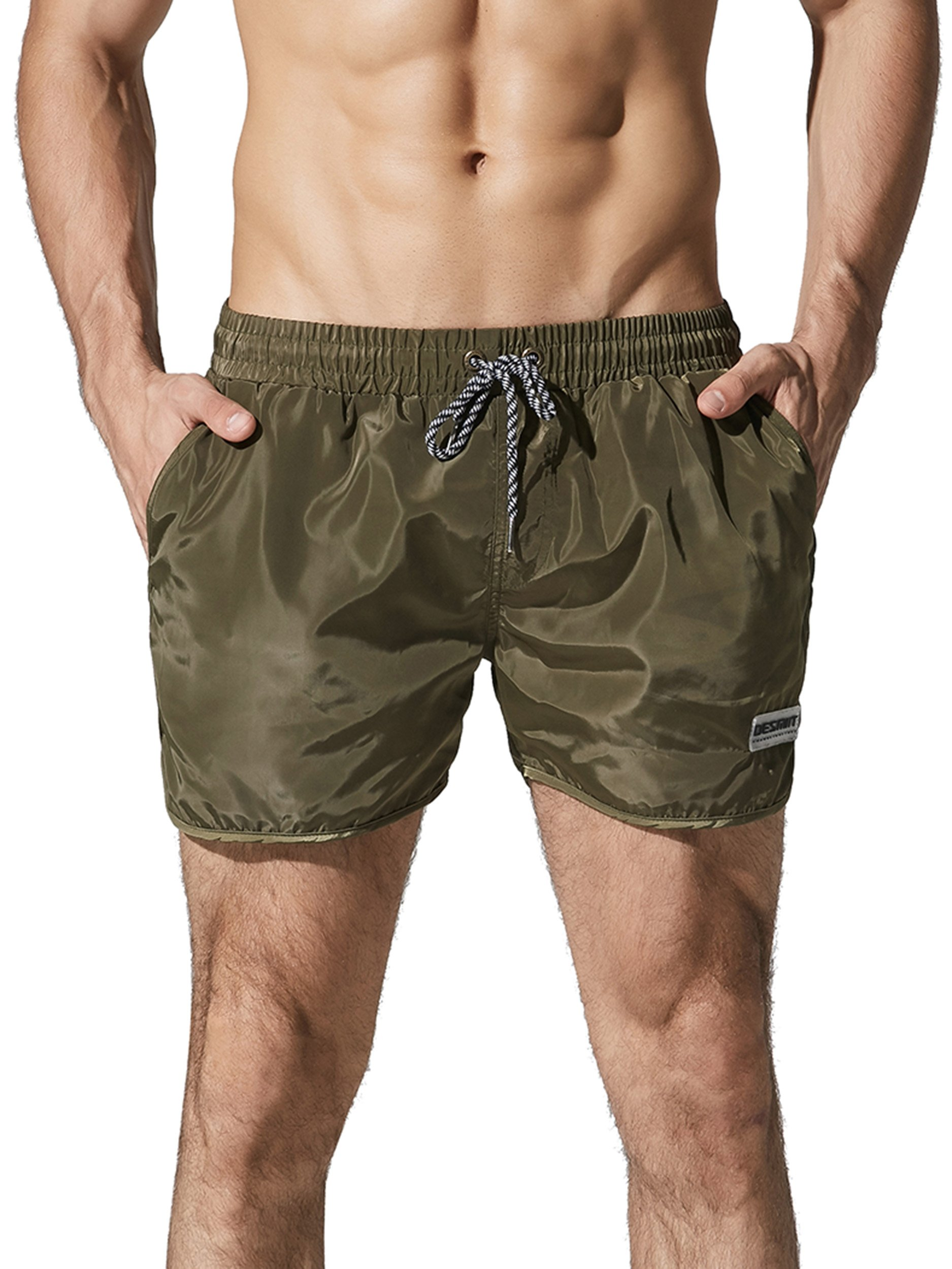 Neleus Men's Runner Athletic Shorts Swimming Trunks with Pockets,708,Olive Green,L,Tag 2XL