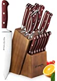 Knife Set, 15-Piece Kitchen Knife Set with Block Wooden, Self Sharpening Manual for Chef Knife Set, German Stainless Steel, Emojoy