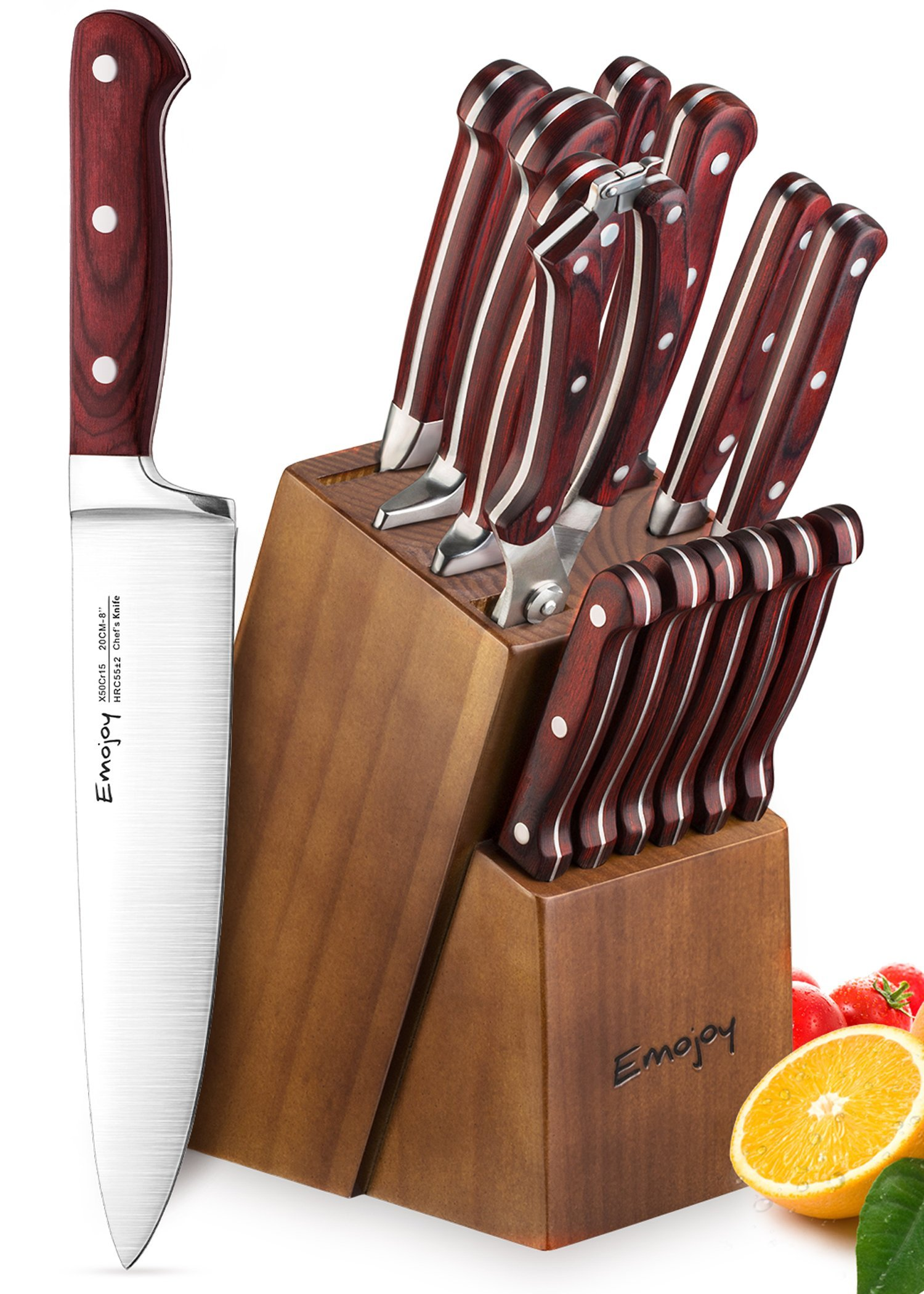 Knife Set, 15-Piece Kitchen Knife Set with Block Wooden, Self Sharpening Manual for Chef Knife Set, German Stainless Steel, Emojoy
