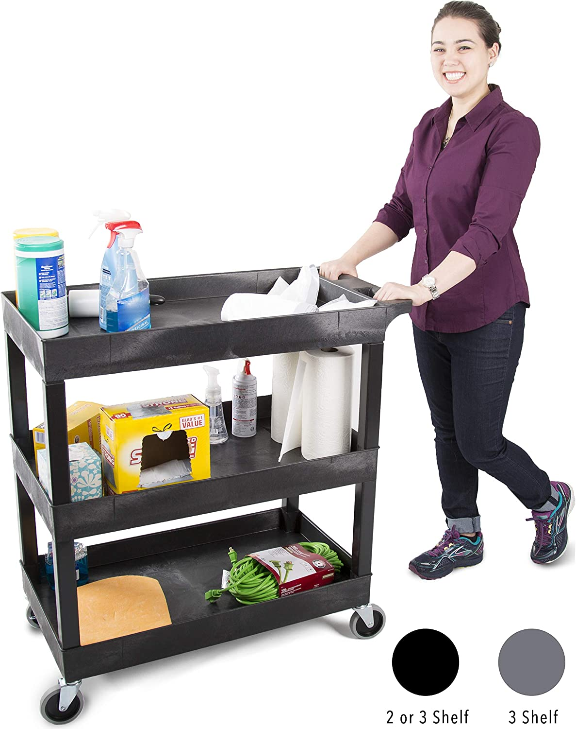 Original Tubstr 3 Shelf Utility Cart Service Cart – Heavy Duty – Supports up to 400 lbs – Tub Carts w Deep Shelves – Great for Warehouse, Garage, Cleaning and More 3 Shelf – 32 x 18 Black
