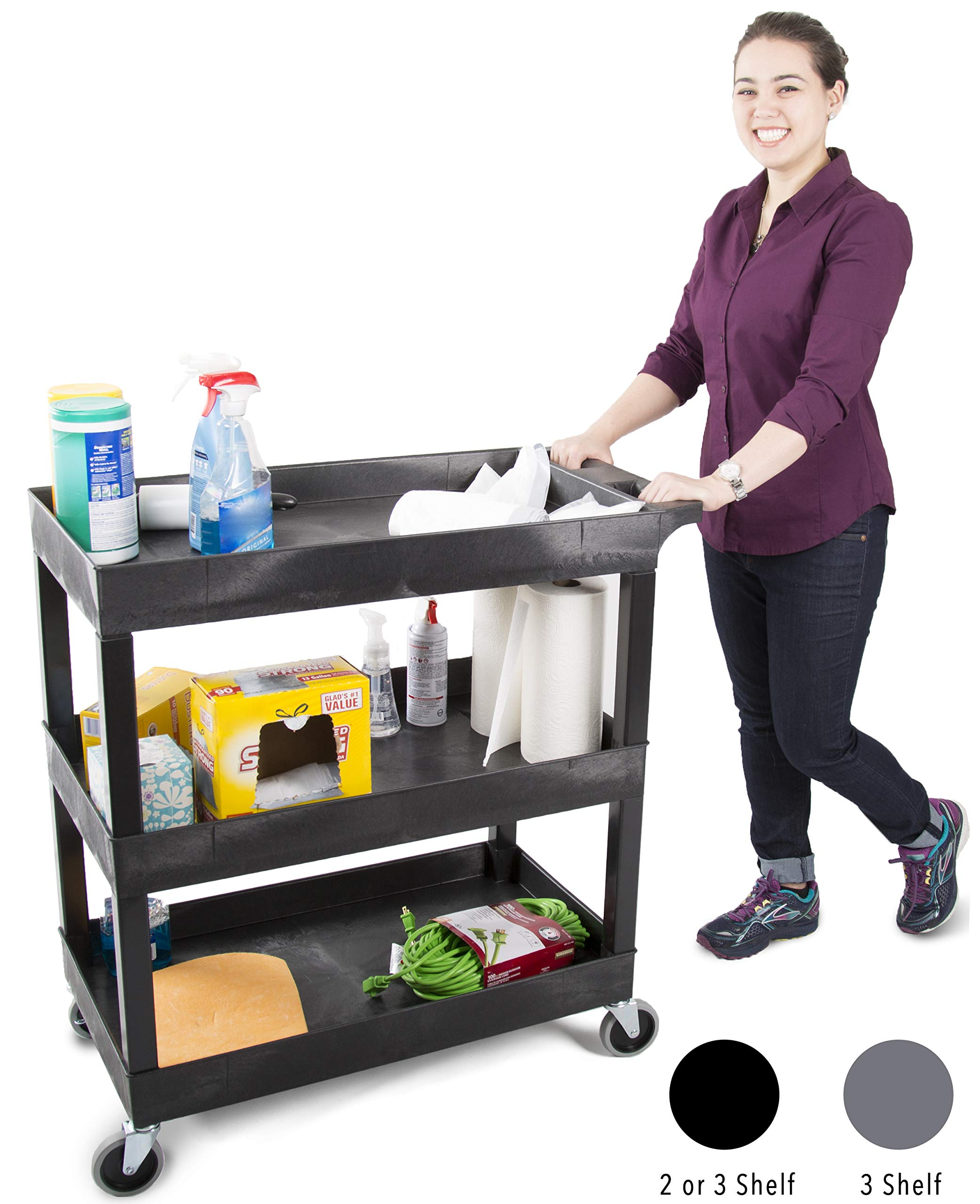 Original Tubstr 3 Shelf Utility Cart/Service Cart - Heavy Duty - Supports up to 400 lbs - Tub Carts w/Deep Shelves - Great for Warehouse, Garage, Cleaning and More (3 Shelf - 32 x 18 / Black) by Stand Steady