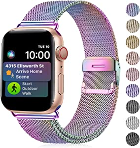 Amigao Compatible with Apple Watch Band 42mm 44mm, Stainless Steel Mesh Wristband Loop Replacement Band for iWatch Series 5 4 3 2 1,Colorful