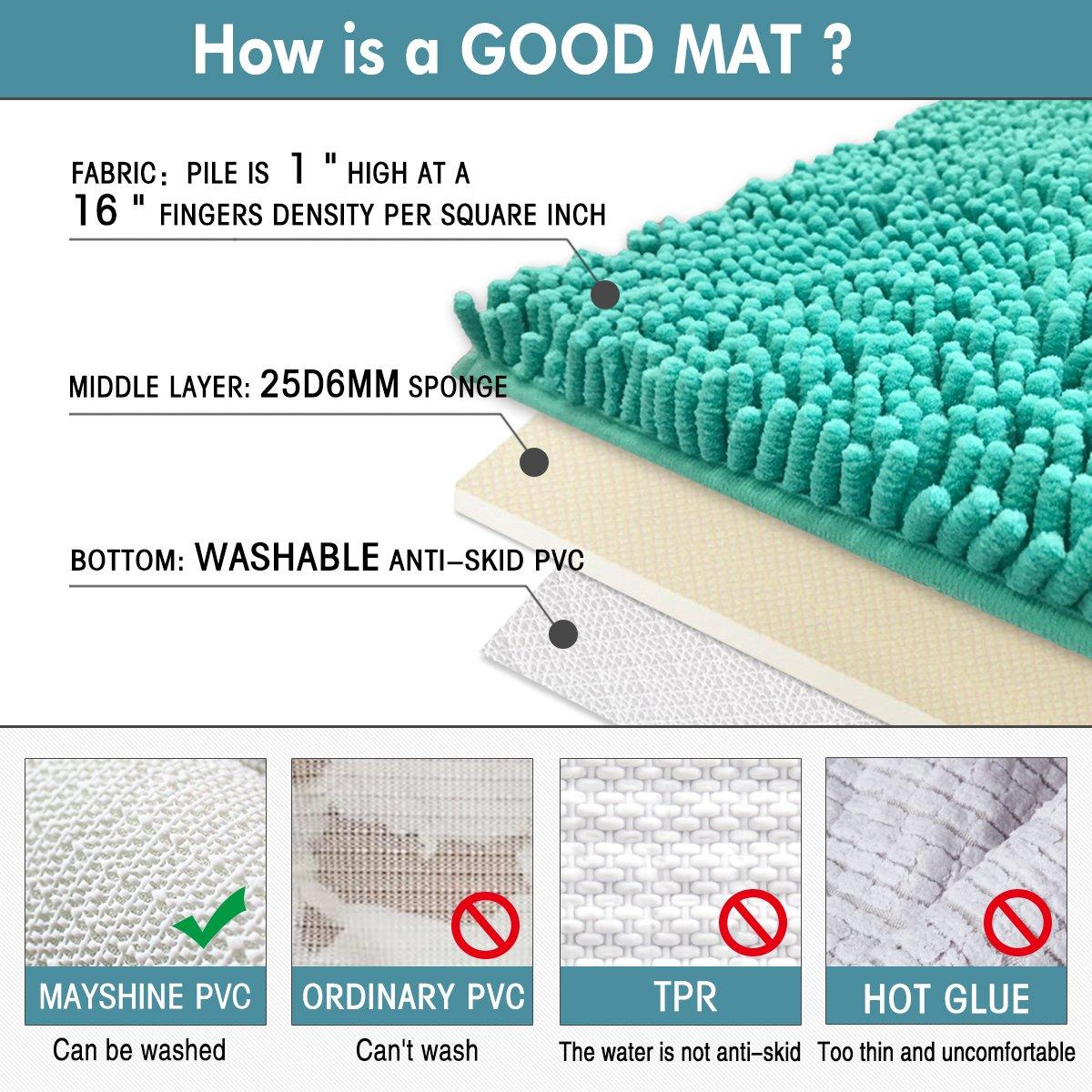Mayshine Bath mats for Bathroom Rugs Non Slip Machine Washable Soft Microfiber 2 Pack (20×32 inches, Turquoise) by MAYSHINE (Image #5)