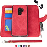 MODOS LOGICOS Samsung Galaxy S9 Case, [Detachable Wallet Folio][2 in 1][Zipper Cash Storage][Up to 14 Card Slots 1 Photo Window] PU Leather Purse Clutch with Removable Inner Magnetic TPU Case - Red