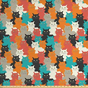 Ambesonne Kittens Fabric by The Yard, Funny and Colorful Cats Messy Furry and Fluffy Whiskers Purr Cheerful Print, Decorative Fabric for Upholstery and Home Accents, 1 Yard, Orange Teal