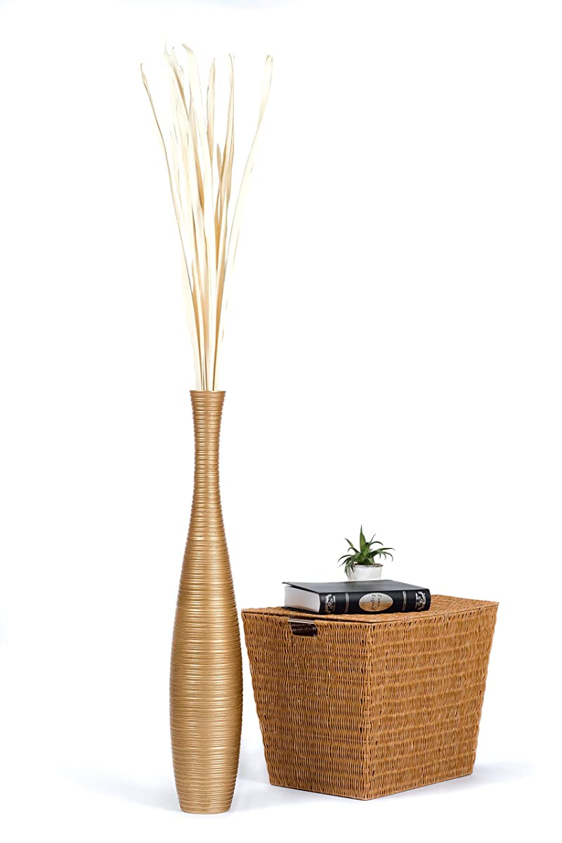 Leewadee Tall Big Floor Standing Vase For Home Decor, 6x36 inches, Wood, Gold