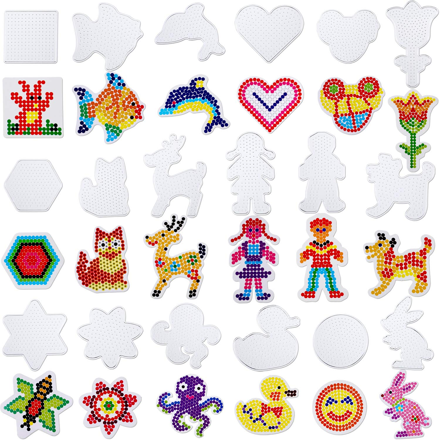 Chuangdi 18 Pieces 5 mm Fuse Beads Boards Clear Plastic Pegboards with 18 Pieces Colorful Cards for Kids Craft Supplies by Chuangdi