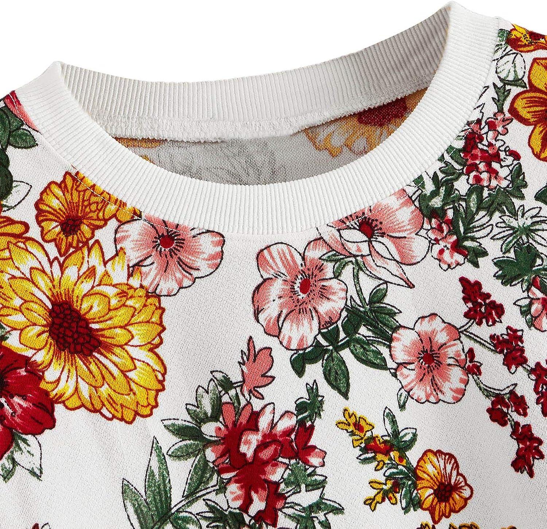ROMWE Womens Casual Floral Print Long Sleeve Pullover Tops Lightweight Sweatshirt