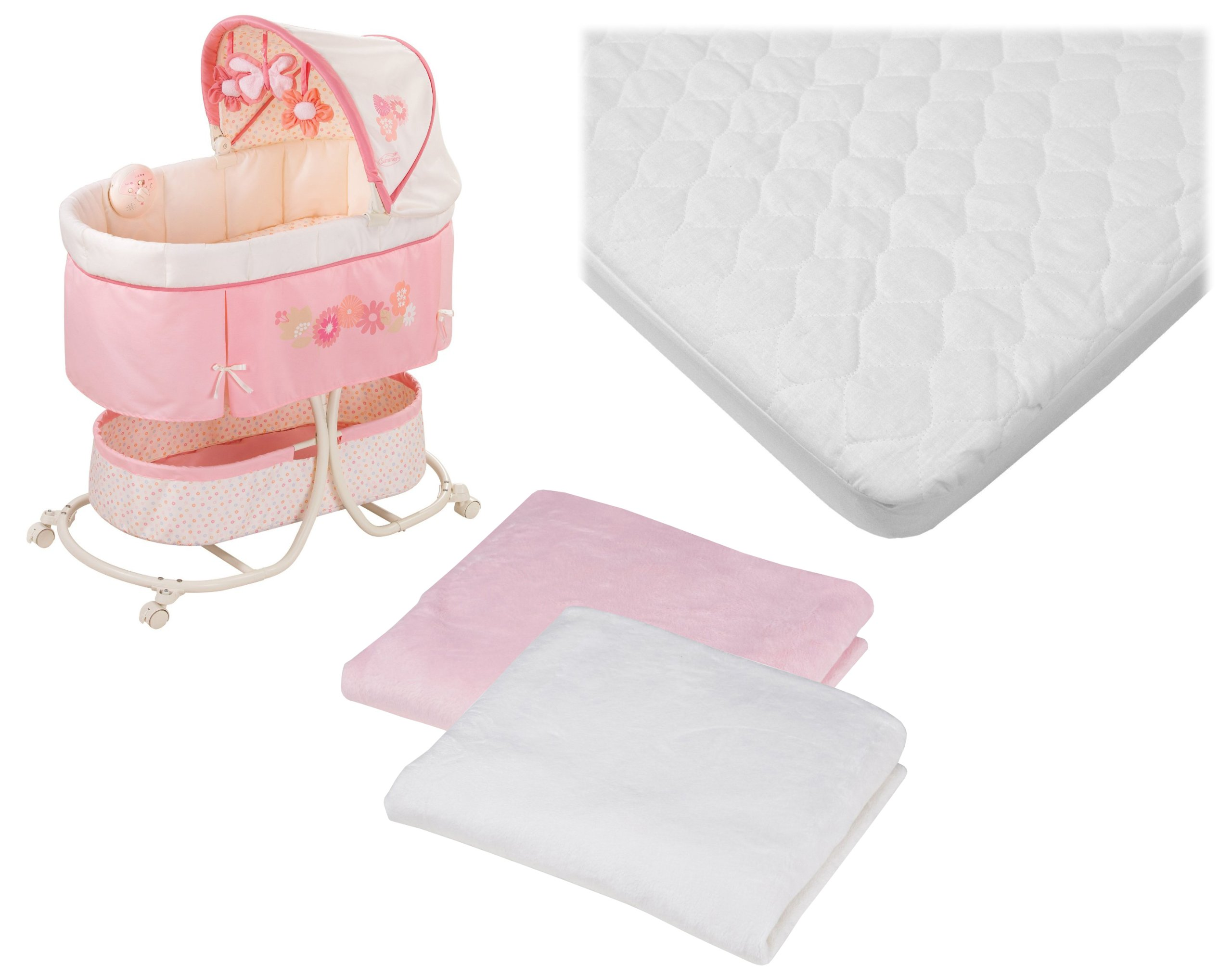 Summer Infant Soothe & Sleep Motion Bassinet with Waterproof Mattress Pad & Extra Chenille Sheets