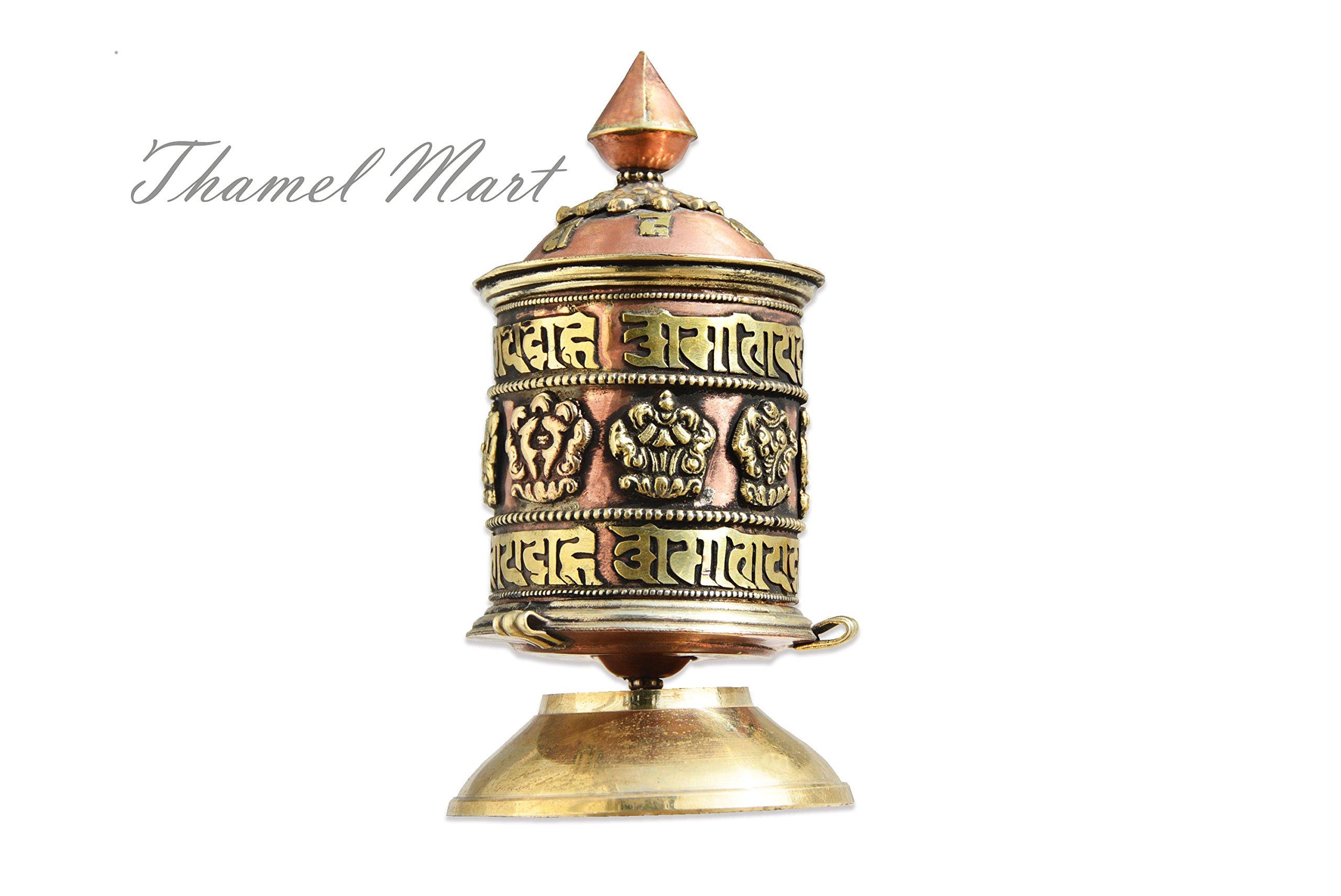 Table Top Copper Brass Tibetan Buddhist 8 Lucky Symbols Prayer Wheel