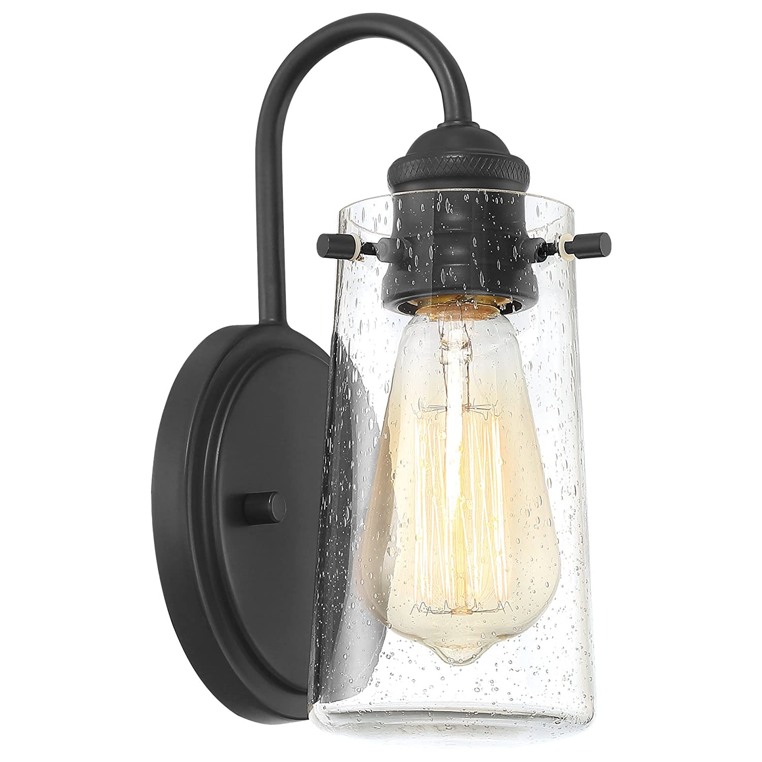 Kira Home Rayne 9.5 Modern 1-Light Wall Sconce Bathroom Light, Seeded Glass Matte Black Finish
