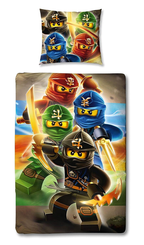 Character World – Juego de Ropa de Cama Reversible Lego Ninjago, 135 x 200 cm + 80 x 80 cm, linón 1475 algodón, 100% Algodón Linon, Ninjago Red, 135 x ...