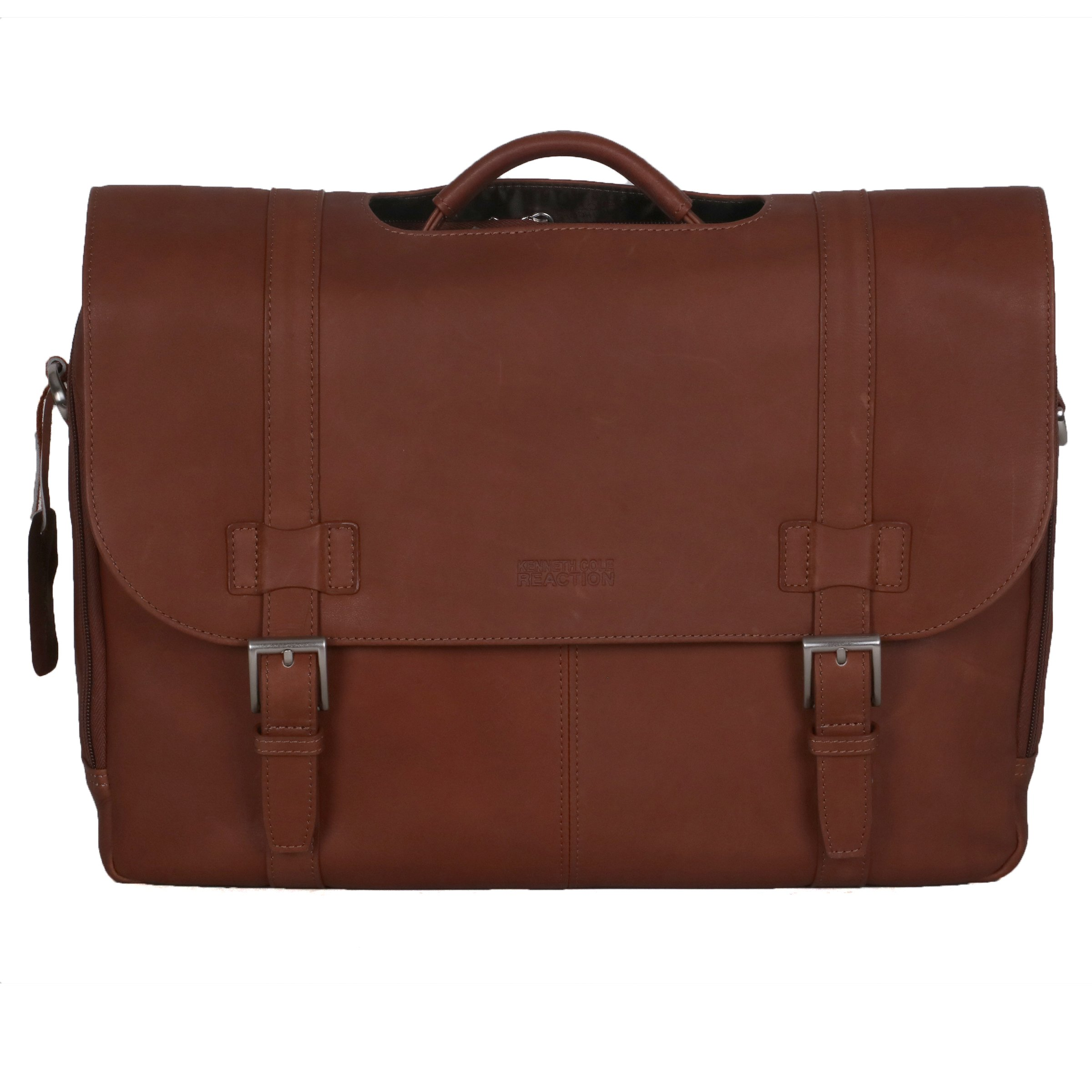 Kenneth Cole Reaction ''Show Business'' Colombian Leather Double Compartment Flapover Portfolio/Computer Case With Pull Through Handle/ Fits Most  15.4'' Laptops, Cognac, One Size by Kenneth Cole REACTION