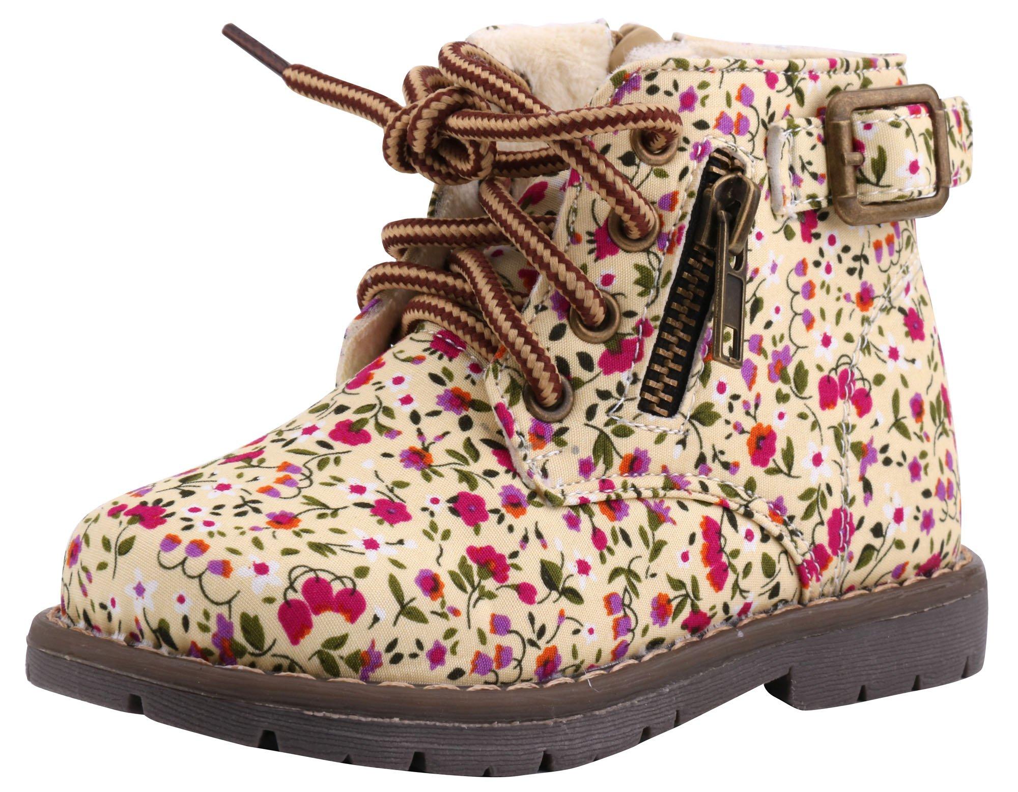 LONSOEN Kid's Zipper Down Ankle Boots Winter Shoes(Toddler/Little Kid) KDB009 Beige Flower CN29